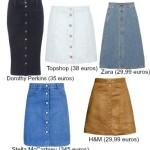 As saias com botões à frente