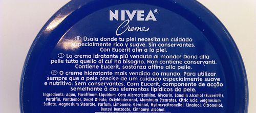 composição do creme nivea latinha azul
